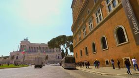 Riding a bike in Venice Square in Rome FDV pov stock footage