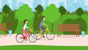 Young couple riding their bikes through the park. Couple riding bikes through the park. Vector illustration in flat design vector illustration