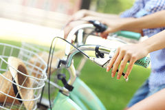 Riding bikes in the park Royalty Free Stock Photo