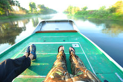 Riding on a boat Royalty Free Stock Image