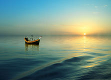 Riding boat. In the river of bangladesh on dreamy cloudy day Stock Photo