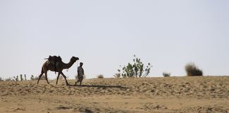 Riding a Camel, Jaisalmer Desert, Rajastan, India, 5th, January, 2012 stock image