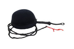 Riding cap and whip royalty free stock photos