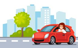 Riding on the car. Happy woman rides car in city. Vector flat Stock Images