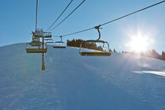 Riding the Chairlift Royalty Free Stock Images