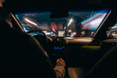 Riding through the city by car Royalty Free Stock Photography