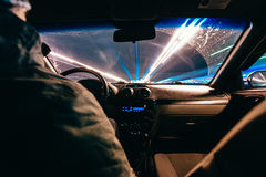 Riding through the city by car Royalty Free Stock Photo