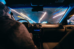 Riding through the city by car Stock Photography