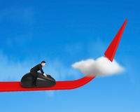 Riding computer mouse on growing red arrow Stock Images