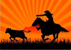 Riding cowboy vector illustration
