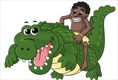 Riding Crocodile Royalty Free Stock Photography