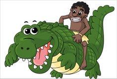 Riding Crocodile Royalty Free Stock Photography