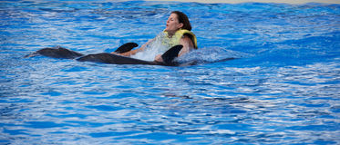 Riding a dolphin Royalty Free Stock Photos