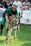 Riding a donkey contest Royalty Free Stock Photography