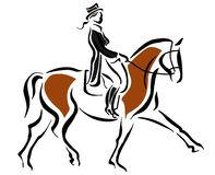 Riding. Drawing of woman riding a horse royalty free illustration