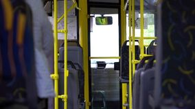 Riding in the almost empty city bus. Riding in the almost empty bus stock video