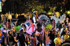 Riding a fake horse, Yogyakarta city festival Stock Photo