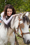 Riding a farm horse Stock Photography