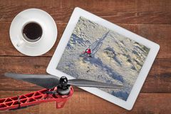 Riding fat bike on desert trail - aerial view Royalty Free Stock Photo