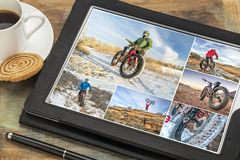 Riding fat bike in winter stock photo