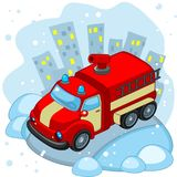 Riding Fire Truck. A cartoon fire truck is driving along the road in winter Royalty Free Stock Image