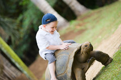 Riding Giant Turtle. Fun activities in Mauritius. 4 years old boy riding giant turtle Royalty Free Stock Photos