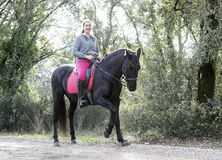 Free Riding Girl And Horse Royalty Free Stock Photography - 214700247