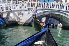 Riding on a gondola in VENICE Stock Photo