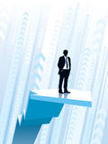 Riding on the graph. Businessman standing on a large climbing graph, conceptual business illustration Royalty Free Stock Photos
