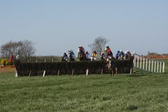 Riding hard to win the race. Route Hunt Point to Point March 2017-Horse Racing at Portrush organised by the route Hunt. No Model Release Obtained Royalty Free Stock Images