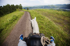 Riding a horse on rural road. View from  horse Royalty Free Stock Photos