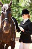 riding horseback девушки Стоковая Фотография RF
