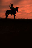 Riding horseman. Horsemen riding on the sunset vertical Royalty Free Stock Image
