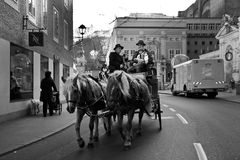 Riding horses in city center of Salzburg, Austria Royalty Free Stock Photo