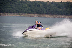 Riding a Jet ski. Royalty Free Stock Photography