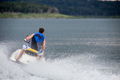 Riding a Jet ski. Royalty Free Stock Image