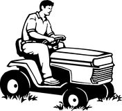 Riding Lawn Mower. Line Art Illustration of a Riding Lawn Mower Royalty Free Stock Photos