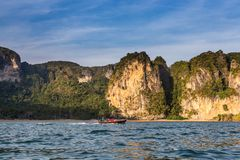 Riding longtail boat in Railay beach at sunset, Krabi, Thailand Stock Images