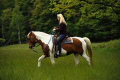 Riding on the meadow Stock Images