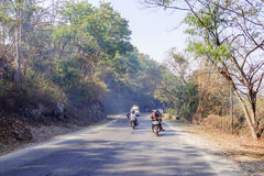 Riding on motobike in Myanmar Stock Photography