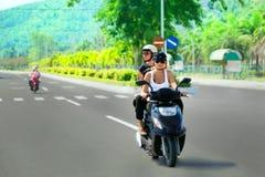 Riding motorbike Royalty Free Stock Images
