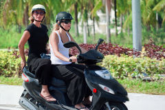 Riding motorbike royalty free stock photo