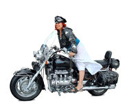 Riding a motorcycle Royalty Free Stock Image