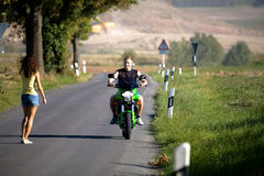 Riding the motorcycle Royalty Free Stock Image