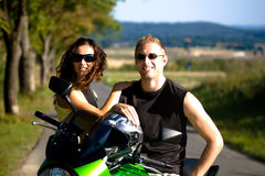 Riding the motorcycle Royalty Free Stock Photo