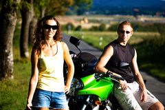 Riding the motorcycle Stock Photography