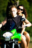Riding the motorcycle Stock Photo
