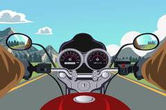 Riding motorcycle. A vector illustration of a person riding a motorcycle Stock Photo