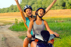 Riding motorcycle on the countryside Royalty Free Stock Photos