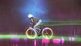 Riding a mountain bike with neon lights Royalty Free Stock Photography